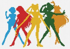 mathematicalcrochet:  Stitch chart I made of all the inner senshi's silhouettes for alltheaphheadcanons. Feel free to use! I'll probably make a more smaller, more detailed version later, but for now you guys are stuck w this.