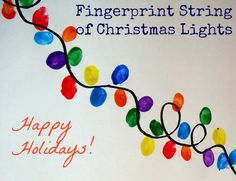 Making Fingerprint Christmas Light Strings - Bloggy Moms