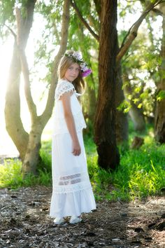 Girls cotton flowergirl dress perfect for the older flowergirl  http://www.teaprincess.com.au/collections/ivory-wildflower-collection