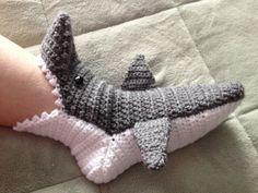 Crocheted Shark Slipper Socks (Customizable) on Wanelo