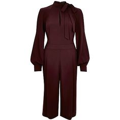 Dark red bow cropped turtle neck jumpsuit 75,00 €
