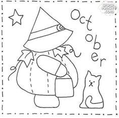 Sashiko Sunbonnet Sue BOM - October Stitchery Pattern - Month by month stitchery pattern. Make a little calendar quilt, embellish a pillowcase, decorate a shirt or sew a fabric greeting card. Folk Embroidery, Hand Embroidery Patterns, Applique Patterns, Vintage Embroidery, Embroidery Stitches, Quilt Patterns, Embroidery Designs, Beginner Embroidery, Geometric Embroidery