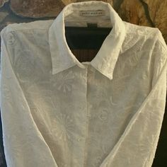 Peter Martin White Embroidered Shirt Jacket
