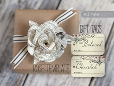 free printables: book page paper rose template + gift tags  {Ellinee}