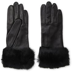 Fownes Real Rabbit Fur Trim Leather Gloves (1,995 INR) ❤ liked on Polyvore featuring accessories, gloves, grays, lined gloves, leather gloves, gray gloves, fownes brothers gloves and cashmere-lined leather gloves