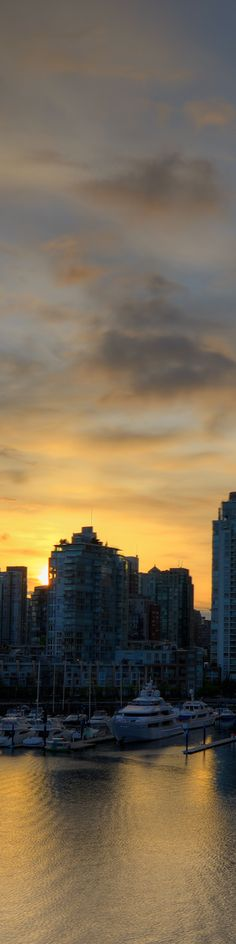 Vancouver Skyline at Sunset. Cropped for Pinterest from photos at Photokaz.com