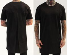 T Slit with crease behind is trend. A black T-shirt that leaves the usual standard, the signature design Sik Silk is made of cotton with round neck and has a long way above normal and an original fold in the back of loa shirt will originate more a dislocated neck in passing. #woman #mens #home #fashion #style