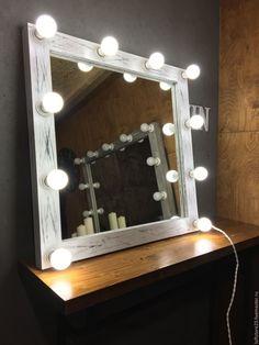 Купить Гримерное зеркало ZERO. 80 см на 80 см - чёрно-белый, гримерное зеркало