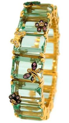 estate bracelet in 18k yellow gold with lemon citrines, pink  white sapphires, and emeralds -- so pretty and feminine