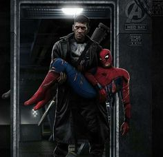 Punisher saving SpiderMan