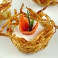 Smoked Salmon and Creme Fraiche in Tiny Potato Nests