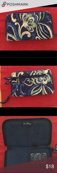 Vera Bradley wallet! Some wear & tear. Classic Vera Bradley wallet! Blue print Some wear and tear. Don't notice when it is zipped. . Also have the matching bag in my store! Vera Bradley Bags Wallets