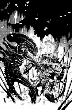 Image detail for -. by Mike Mignola, in Olivier D.'s Mike Mignola Comic Art Gallery Room Comic Book Artists, Comic Book Characters, Comic Artist, Comic Books Art, Alien Vs Predator, Predator Alien, Xenomorph, Aliens, Mike Mignola Art