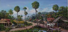 คลังรูป ภ.ภาพวาด: วิถีชีวิตชาวบ้าน Village Scene Drawing, Watercolor Art Landscape, Indian Village, Landscape Pictures, Beautiful Drawings, Angkor, Artwork, Nature, Thailand