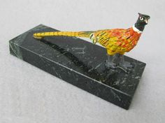 Marble and Metal Pheasant Paperweight offered at Ruby Lane by Antique Beak