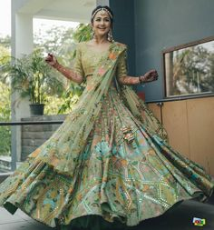 Green Lehenga, Indian Lehenga, Ethnic Outfits, Indian Outfits, Ethnic Clothes, Bollywood Wedding, Indian Bollywood, Bridal Lehenga, Wedding Attire