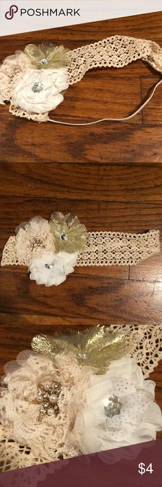 Cream Headband Cream, white and gold headband Silver accents Elastic  Never worn Like New Accessories Hair Accessories