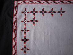 1975s Linen Table Cloth Red Embroidery #home Kitchen #mat Handmade #net Antiques