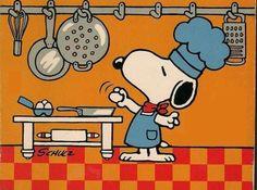 Snoopy makes breakfast