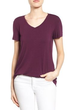 Halogen® Modal Jersey V-Neck Tee (Regular & Petite) available at #Nordstrom