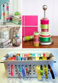 way to keep ribbons together.I've seen this before but never implemented the idea.Would work great in the craft/mad crazy room we call our basement :) Do It Yourself Organization, Ribbon Organization, Ribbon Storage, Craft Organization, Craft Storage, Storage Ideas, Organizing Ideas, Crafts To Do, Diy Crafts