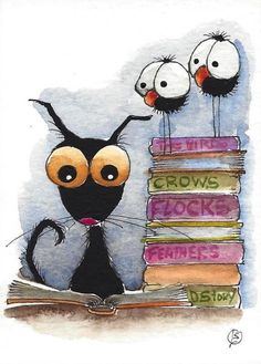 ACEO Original watercolor painting Stressie Cat whimsical books about a crow bird #IllustrationArt