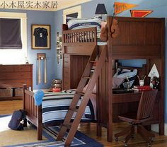 Shanghai cabins custom furniture  children's bedroom bunk bed with children up and down the wood desk with lockers