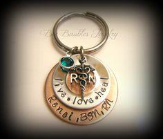Hand Stamped Jewelry Keychain / RN keychain / by BeeBaublesJewelry, $25.00