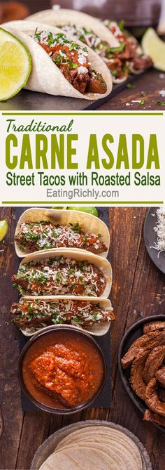 Take your taste buds to Mexico with a traditional taco recipe of flavorful steak, topped with a fresh onion relish, & drizzled with spicy homemade roasted salsa. Bet you can\'t eat just one! From EatingRichly.com via @eatingrichly