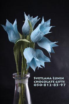 Handmade flowers of campanula with chocolate inside.