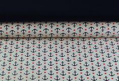 Stoffpakete - 719 Stoffpaket Jersey Anker Blau Rot 1,00m - ein Designerstück von my-kati bei DaWanda