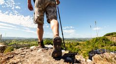 Hiking on a mountain trail. Hiker hiking on a mountain trail with distant views , Esprit Yoga, Camping First Aid Kit, Destinations, Trail Guide, Mountain Trails, Parc National, National Parks, Help Losing Weight
