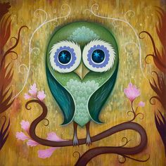 """""""Day Owl,"""" Acrylic on wood, 12 x 12 inches by Jeremiah Ketner 2012."""