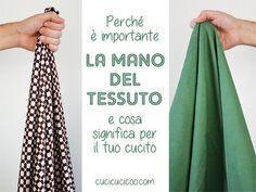 L'importanza della mano del tessuto e perché bisogna capirla nel tuo cucito. Una lezione di cucito del corso gratuito per principianti Impara a Cucire a Macchina su www.cucicucicoo.com