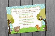 Woodland Animal Baby Shower Invitation Card Printable