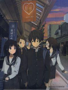 Hyouka, Ibara Mayaka, Fukube Satoshi, Chitanda Eru, Oreki Houtarou M Anime, Anime Demon, Anime Guys, Anime Love Couple, Cute Anime Couples, Hyouka Chitanda, Tamako Love Story, Anime Group, Kyoto Animation