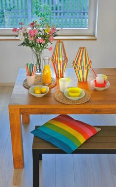 DIY indoor candle holders made of drinking straws