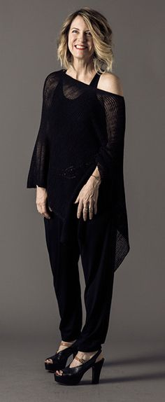 Recreate this with Ink viscose jersey slouchy pants, Ink shell and poncho in same color.
