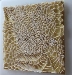 Wall mounted work    In mostly porcelain clay, delicate alignments and textures are gradually built into intricate structures with shifting perspectives. They are mo