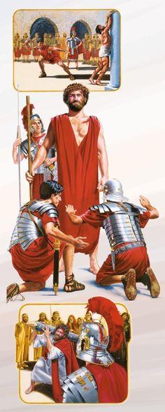 Ježiša vojaci bičujú, vysmievajú sa mu a nútia ho niesť si mučenícky kôl