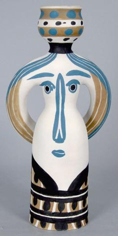 1955 Picasso Ceramic Madoura Sculpture Signed, Lampe Femme (Woman Lamp), 1955