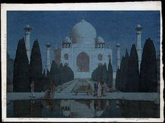 Castle Fine Arts:  Night at Taj Mahal, No. 6 1932  In his 1939 book, Yoshida notes that 14 blocks and 51 impressions were used in order to achieve the 'bokashi' (shading).   PROVENANCE: The Hiroshi Yoshida Family Collection.