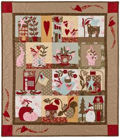 """x Applique Quilt. A quilt you can enjoy throughout the year, featuring one block for each month of the year. Pattern includes color fabric guide and full size patterns. The applique is fun and easy. """"Simple Pleasures"""" is the perfect quilt for b Hand Applique, Applique Quilts, Quilting Board, Winter Quilts, Block Of The Month, Quilt Kits, Simple Pleasures, Couture, Christmas Art"""