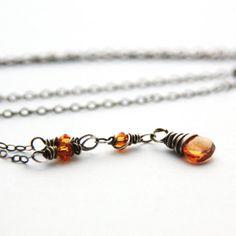 Orange Topaz Necklace Antique Silver Necklace Genuine Topaz Gemstone Y... JewelryByMagda $30