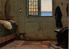 """Christen Dalsgaard (1824-1907) """"A fisherman's bedroom."""""""