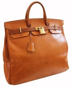 2b6309d5e2c27 Hermes Haut a Courroies Bag HAC 45cm Travel Birkin in Rare Leather Veau  Grain Long Tote