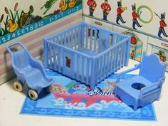 Vtg Marx Dollhouse Blue Nursery Fits Ideal Renwal | eBay