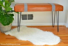 Modern Leather Bench w/Hairpin Legs