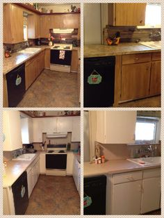 My kitchen remodel.Iu0027m embarrassed to show the before pics but they needed to be seen. The counter tops I painted to look like granite. & 35 Best Painted kitchen counter tops images | Kitchen backsplash ...