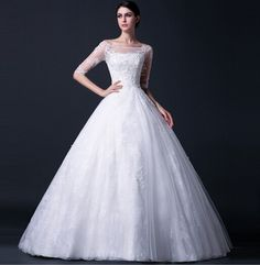 Qi winter 2014 new lace bridal wedding dress trailing Korean fashion women winter custom word shoulder Bridal Wedding Dresses, Bridal Lace, Tulle Ball Gown, Ball Gowns, Chapel Train, Special Occasion Dresses, Dresses Online, Korean Fashion, Formal Dresses